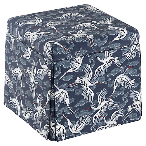 Anne Skirted Storage Ottoman, Navy Linen