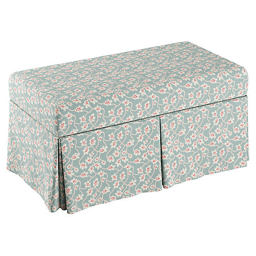 Anne Skirted Storage Bench, Seafoam Linen