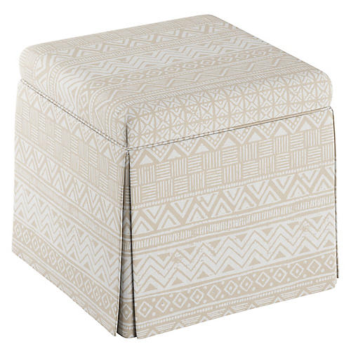 Anne Skirted Storage Ottoman, Natural Batik