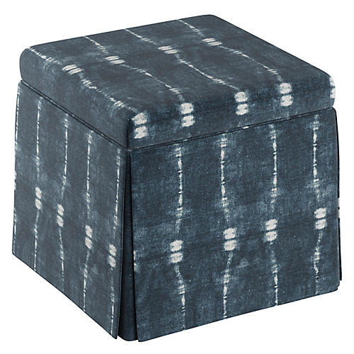 Anne Skirted Storage Ottoman, Indigo