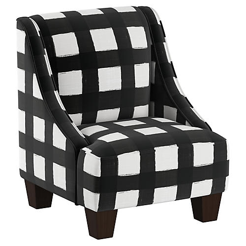 Fletcher Kids' Accent Chair, White/Black Linen