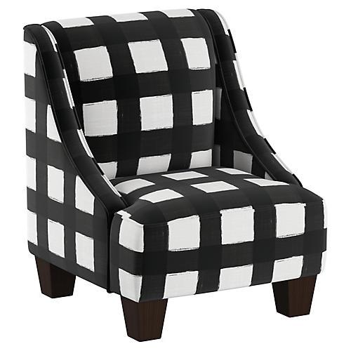Fletcher Kids' Accent Chair, White/Black Linen