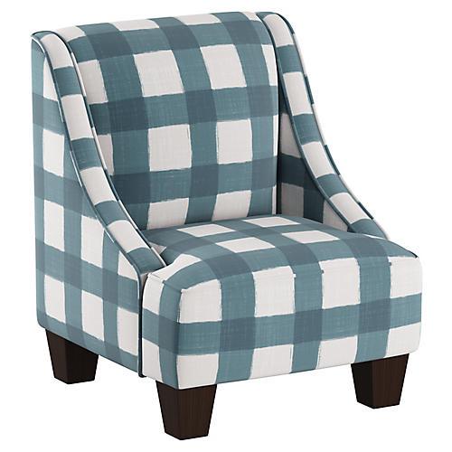 Fletcher Kids' Chair, Blue/White Linen