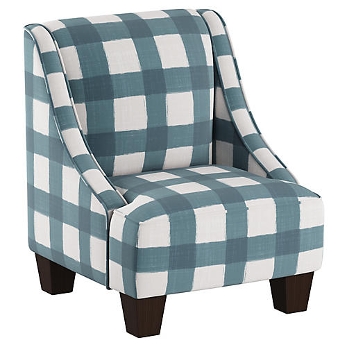 Fletcher Kids' Accent Chair, Blue/White Linen