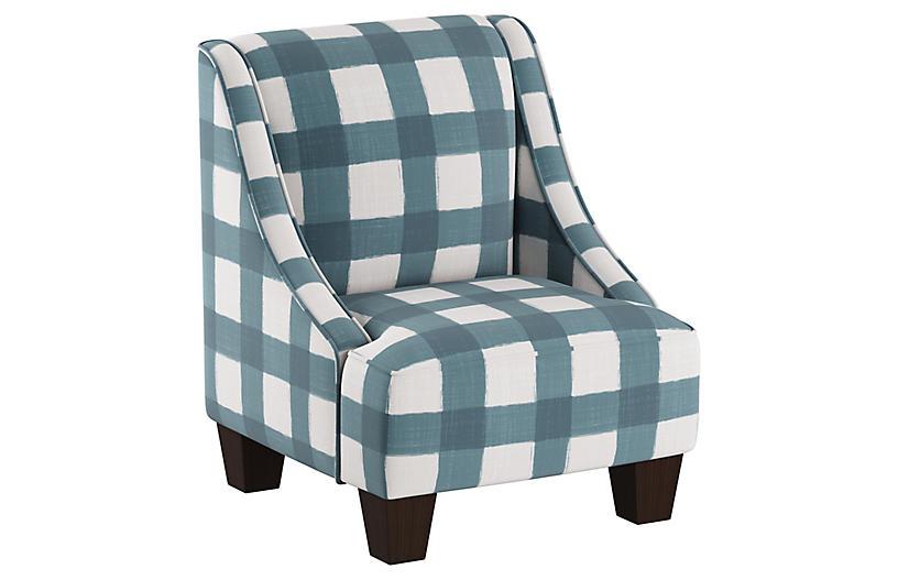 Fletcher Kids' Accent Chair, Blue/White Linen