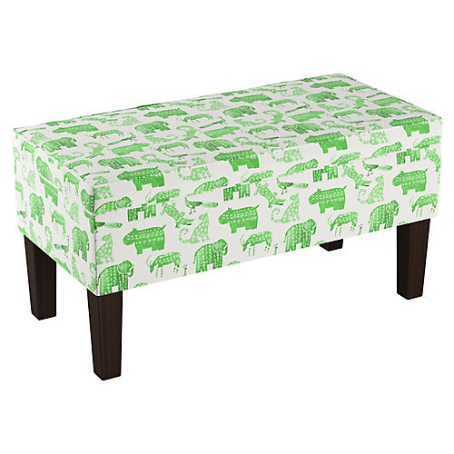 Breene Kids' Storage Bench, Green Linen