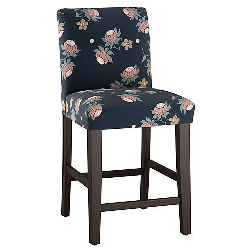 Shannon Counter Stool, Navy Linen