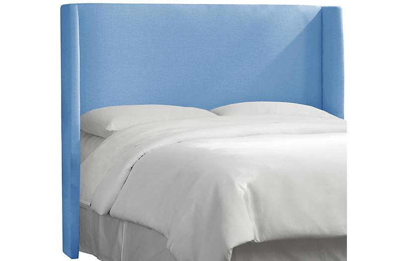 Kelly Wingback Headboard, French Blue Linen