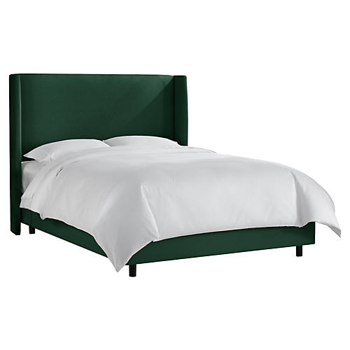 Kelly Wingback Bed, Forest Green Linen