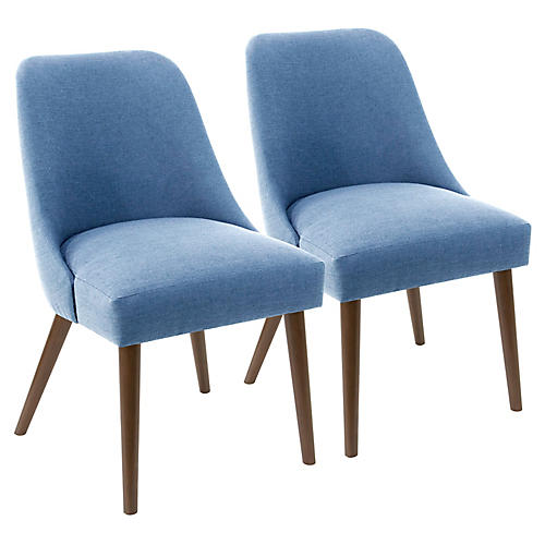 S/2 Barron Side Chairs, French Blue Linen