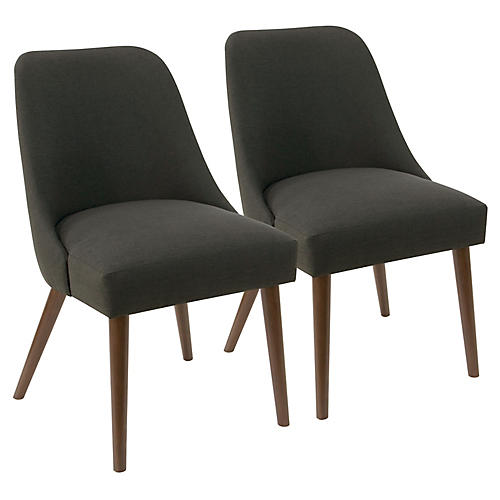 S/2 Barron Side Chairs, Charcoal