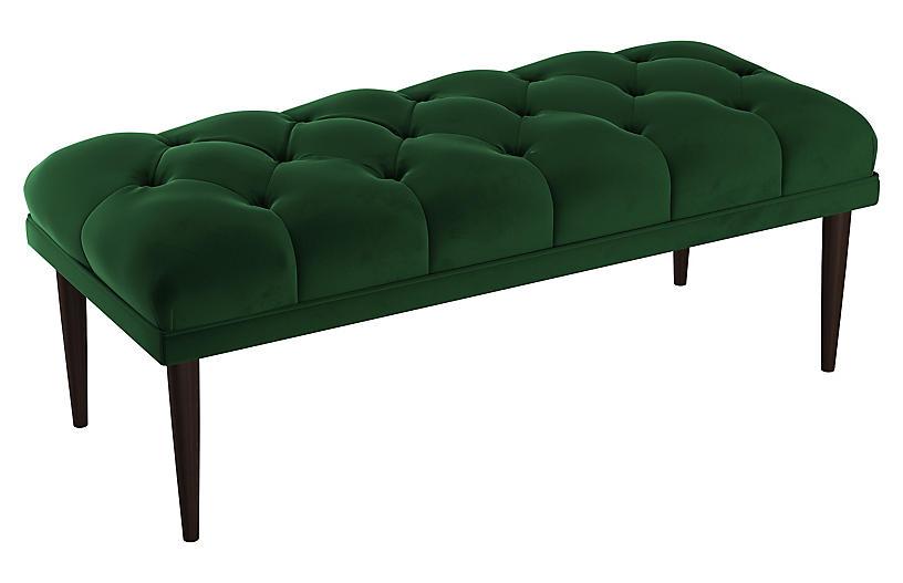 Carrie Tufted Bench, Emerald Velvet