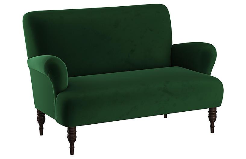 Nicolette Settee, Emerald Velvet