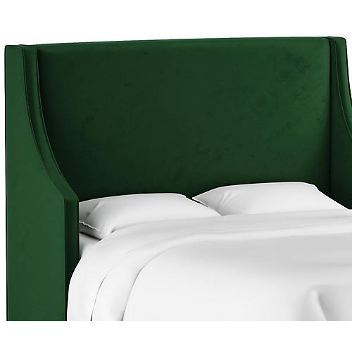 Davis Wingback Headboard, Emerald Velvet