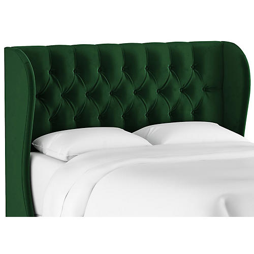 Reed Wingback Headboard, Emerald Velvet
