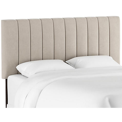 Delmar Channel Headboard, Light Gray Velvet