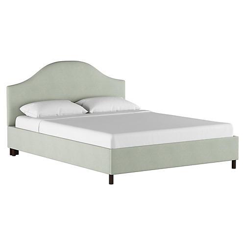 Libby Platform Bed, Mint Linen