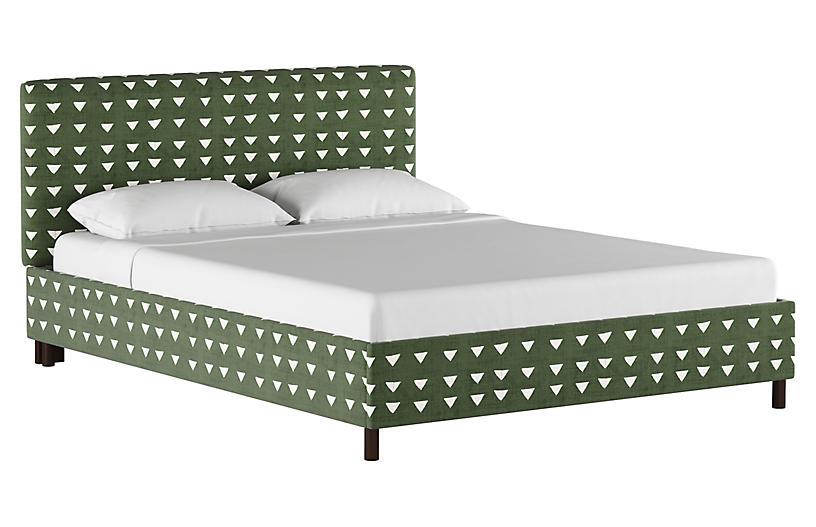 Novak Platform Bed, Olive Green Linen