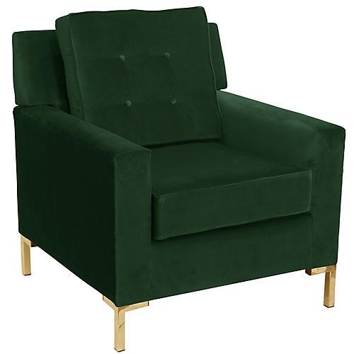 Winston T Leg Club Chair, Emerald Velvet