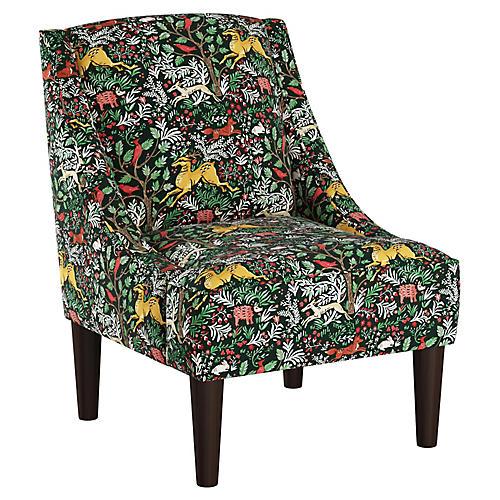 Quinn Swoop-Arm Accent Chair, Green/Multi