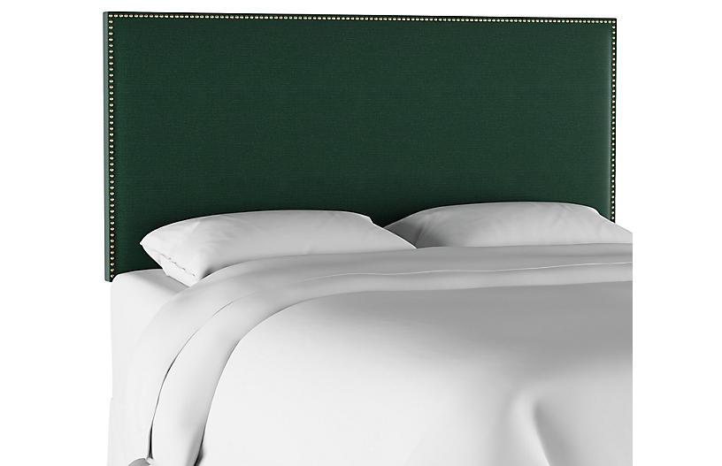 Loren Headboard, Forest Green Linen