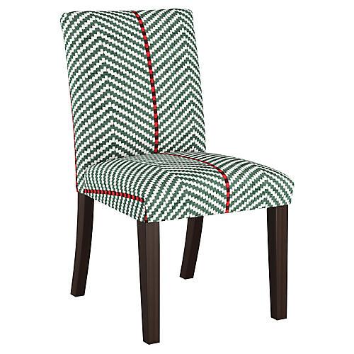 Shannon Side Chair, Green Herringbone Linen