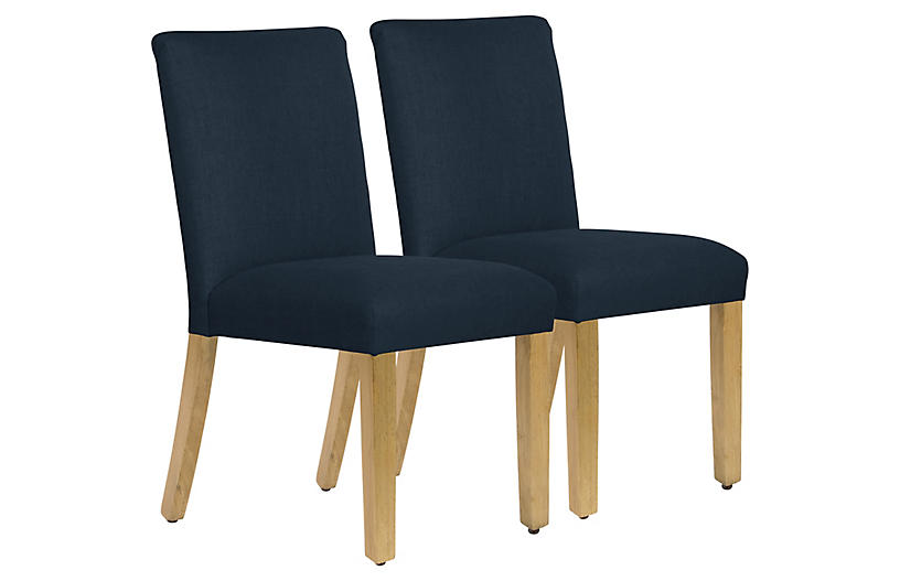 S/2 Shannon Side Chairs, Navy