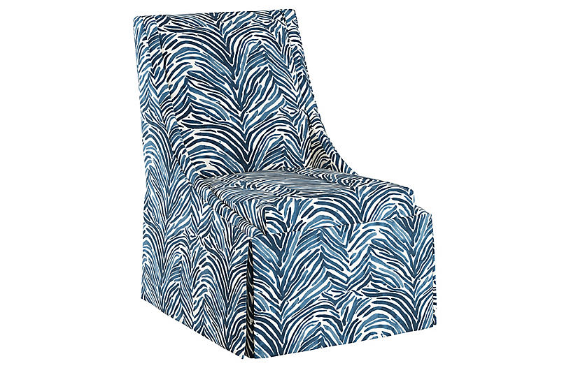 Jody Skirted Side Chair - Blue Linen