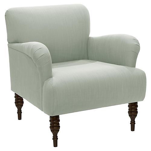 Nicolette Club Chair, Mint Linen