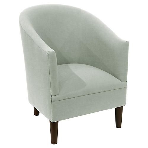 Ashlee Barrel Accent Chair, Mint Linen