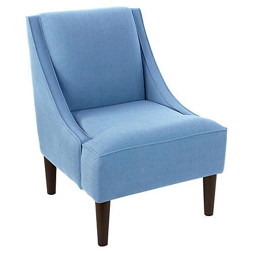 Quinn Swoop-Arm Chair, Light Blue Linen