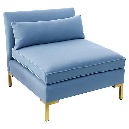Marceau Slipper Chair, Blue Linen