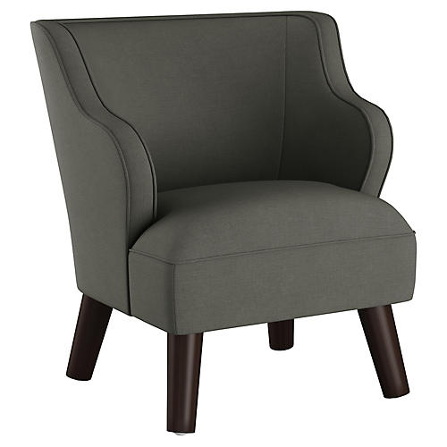 Kira Kids' Accent Chair, Charcoal Linen