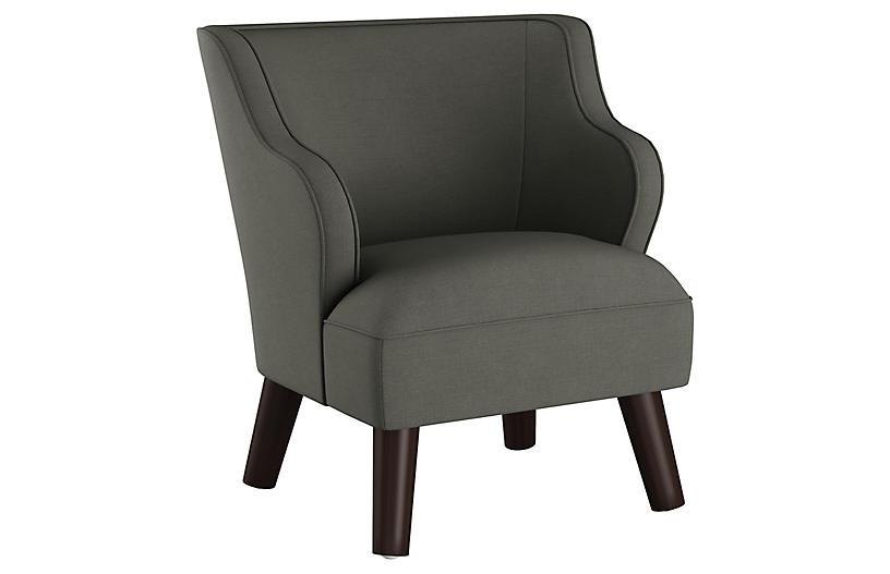 Kira Kids' Accent Chair, Charcoal Linen