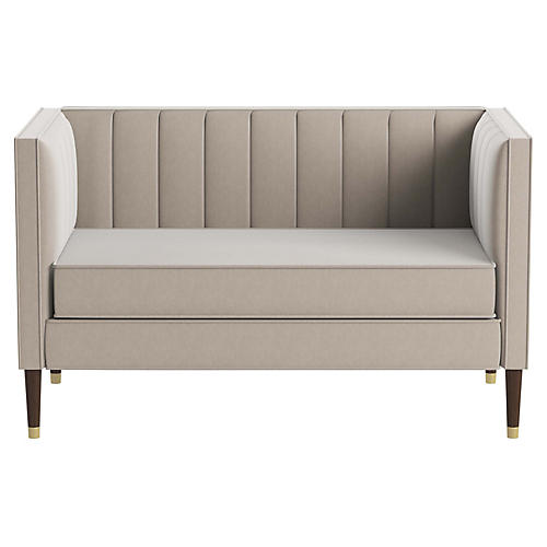 Daron Settee, Light Gray Velvet