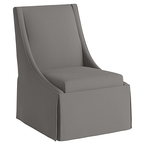 Jody Skirted Swoop-Arm Side Chair, Gray