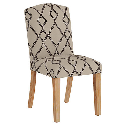 Marie Side Chair, Black/Flax