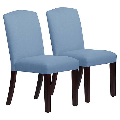 S/2 Marie Side Chairs, French Blue Linen