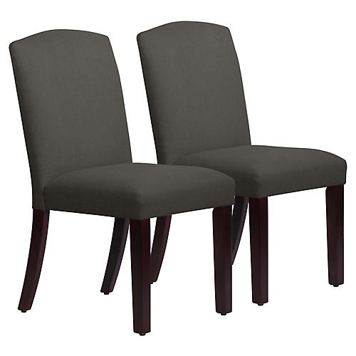 S/2 Marie Side Chairs, Charcoal