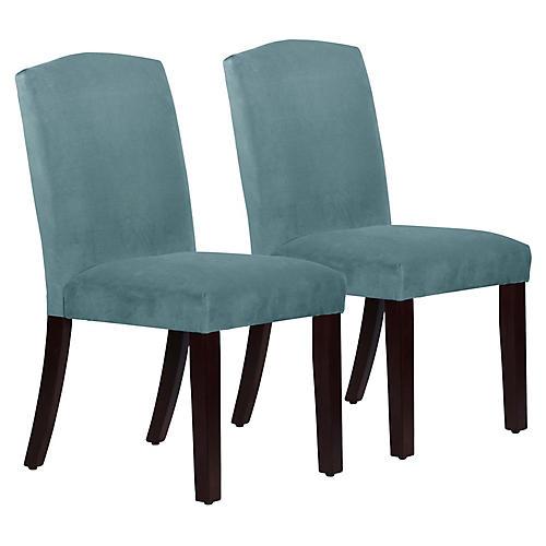 S/2 Marie Side Chairs, Blue Stone Velvet
