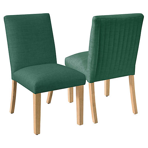 S/2 Erin Pleated Side Chairs, Forest Green Linen