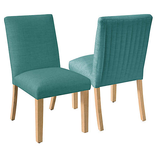 S/2 Erin Pleated Side Chairs, Teal