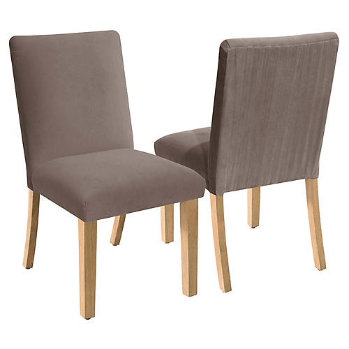 S/2 Erin Pleated Side Chairs, Smoke Velvet