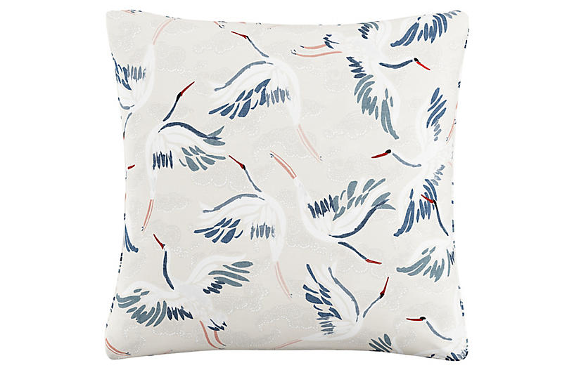 Floating Cranes 20x20 Pillow, Beige Linen