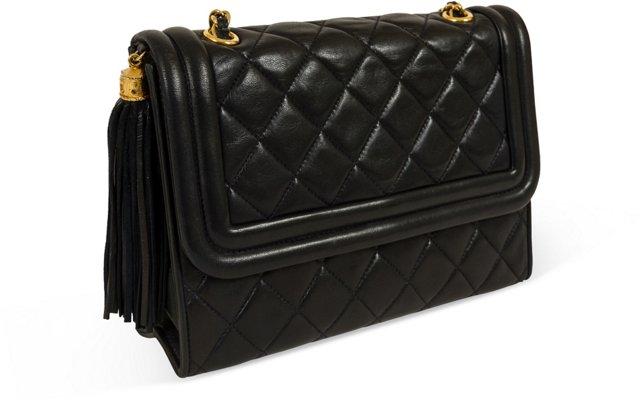 Chanel Black Lambskin Tassel Bag
