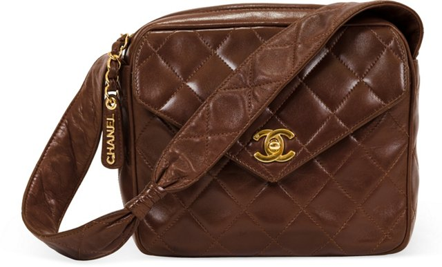 Chanel Brown Lambskin Quilted Day Bag