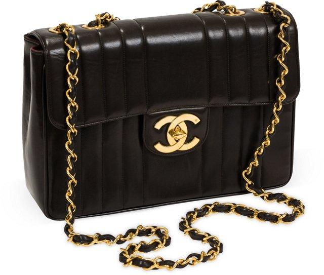 Chanel Vertical Stripe Jumbo Flap Bag