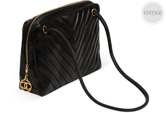 Chanel Black Lambskin Chevron Bag