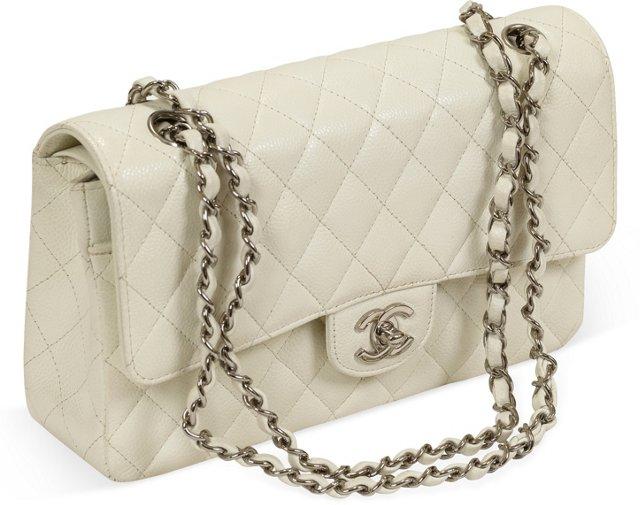 Chanel White Caviar Double Flap Bag