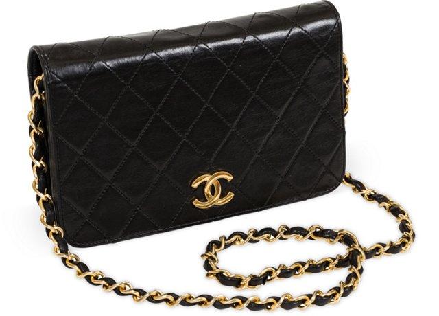 Chanel Black Leather Evening Bag